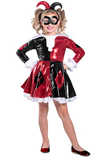Princess Paradise Harley Quinn Premium Child Dress Costume, Red/Black/White, Medium