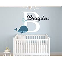 Wall Decal Letters Personalized Whale Name Wall Decal For Boys - Nursery Room Decor - Nursery Nautical Wall Decals - Nautical Wall Decor Vinyl (36 W X 22 H)for Living Room