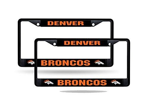 (Rico Denver Broncos NFL Black Metal (2) License Plate Frame Set)