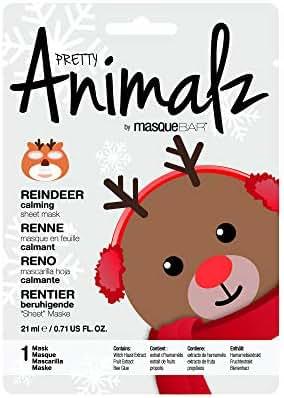 masque Bar Reindeer Sheet Mask w/Grapefruit - Calming Facial Pore Refiner to Help Prevent Acne, Blemishes, Oily Skin, Blackheads - Made in Korea