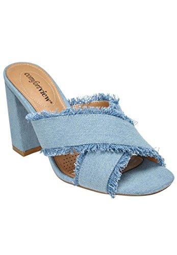 Comfortview Sandales Larges Salma Pour Femmes Bleu Clair Denim