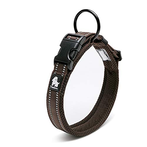 Chai's Choice Best Padded Comfort Cushion Dog Collar for Small, Medium, and Large Dogs and Pets. Perfect Match Front Range Harness Leash. (Medium, Chocolate)
