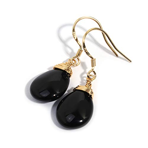 Scutum Craft Natural Stone Dangle Drop Earrings with 14K Yellow Gold Plated Wire Wrap and 925 Sterling Silver Hook Jewelry for Women, Gift for Best Friend (Black Onyx Water Drop)