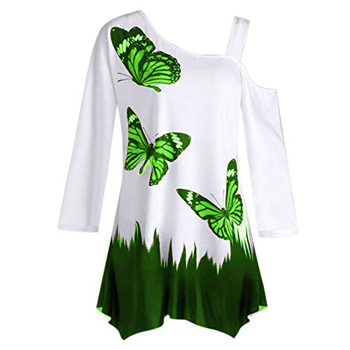 GREFER Clearance Fashion Women's Tops Butterfly Print One Shoulder Long Sleeve Tunic T-shirt Loose -