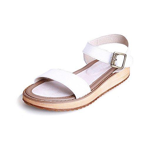 Blanco Para Con Ochenta Mujer Tiras Metalizadas Planas Sandalias Hebilla CwRxvPA8