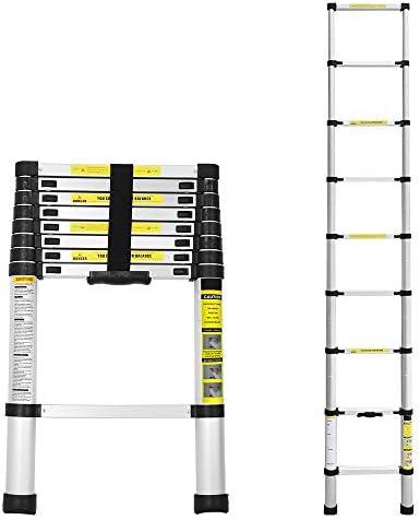Escalera telesc/ópica de 2,6 m de aleaci/ón de aluminio ligero port/átil escalera de extensi/ón DIY Multiprop/ósito Carga m/áxima 330 lb EN131 para Loft Home Office al aire libre interior