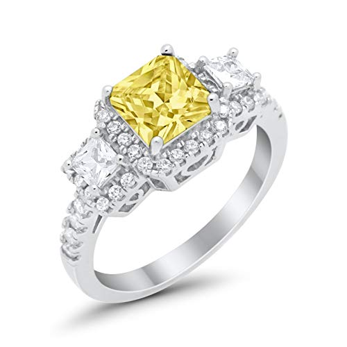 Blue Apple Co. Three Stone Princess Cut Wedding Engagement Promise Ring Simulated Yellow Cubic Zirconia 925 Sterling Silver - Stone Ring Engagement Cz 3