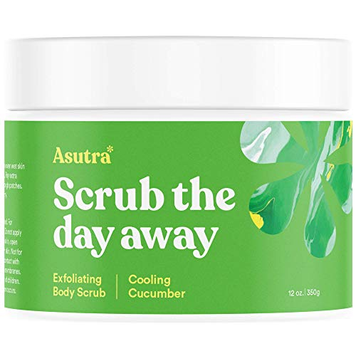 Asutra, Organic Exfoliating Body Scrub, Cooling Cucumber, 100% Dead Sea Salt Scrub, Ultra Hydrating and Moisturizing Scrub, Skin Smoothing Jojoba, Sweet Almond, and Argan Oils, 12 oz. Jar