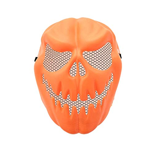 XILALU Funny Pumpkin Latex Mask, Halloween Party Cosplay Carnival Face Mask Tool Prop Costume]()