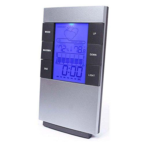LCD Digital Indoor Weather Thermometer Clocks Humidity Meter Hygrometer Alarm Clock