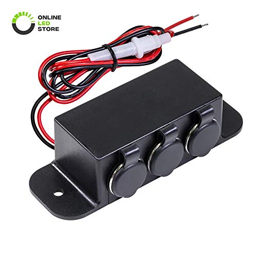 (ONLINE LED STORE Automotive DC Power Outlet Extension [Heavy Duty] [12V-24V] [15 Amp] [in-Line Fuse] [Hardwire] Car Triple Socket Cigarette Lighter Plug Switch Box)