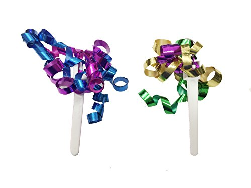 CLEARANCE FREE STANDARD SHIPPING - 24 Picks - Birthday Party Metallic Streamers Cupcake Toppers with a Bonus Cupcake Tips Card - We Ship Within One Business Day!