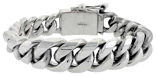 Link Graduated Curb (Sterling Silver Graduated Cuban Curb Link Bracelet 5/8 inch wide, 9 inch (22.9 cm) long)