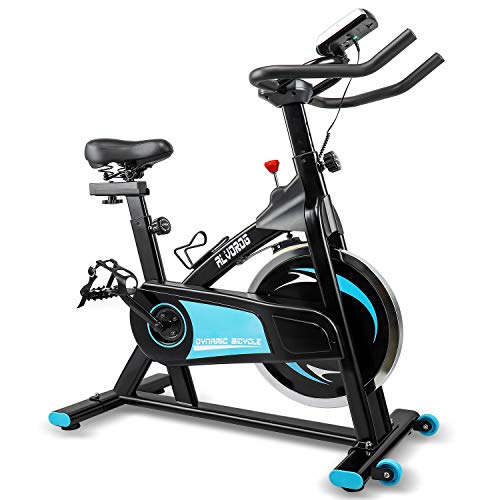 alvorog Indoor Exercise Bike Stationary Cycling Bike with LCD Monitor Quiet Smooth Belt Drive System Adjustable Seat & Handlebars for Home Cardio Gym Workout Bike Training