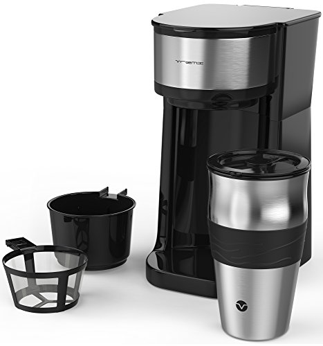 Vremi Single Cup Coffee Maker - Includes 14 Ounce Travel Coffee Mug and Reusable Filter - Personal 1 Cup Drip Coffee Maker to Brew Ground Beans - Black and Silver Single Serve One Cup Coffee Dripper