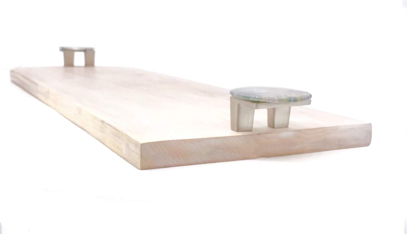 Solid Maple Wood Tray//Cheeseboard//Charcuterie Board with Polished Gemstone Handles