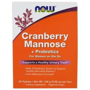 Now Foods Cranberry and Mannose with Probiotics Drink Packets, 24 Count
