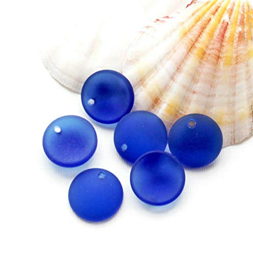 4 Sea Glass Disks Cultured Glass Round with Concave Back 18mm Cobalt Blue, Beading, Jewelry Making, DIY Crafting, Arts & Sewing by Perfect Beads Store