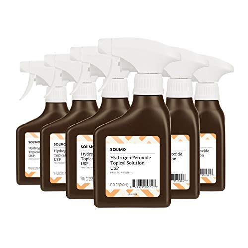 - Amazon Brand - Solimo Hydrogen Peroxide Topical Solution USP Spray Bottle, 10 Fl. Oz (Pack of 6)