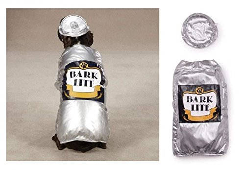 Bark Lite Beer Can Dog Costume Medium Funny Halloween Outfit Silver Size Medium(Medium Bark Lite Beer Can) -