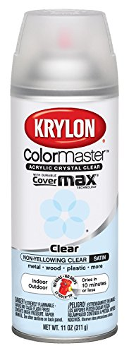 Krylon K05131307 Satin Finish Crystal Clear Interior and Exterior Top Coat - 11 oz. - Finish Coat