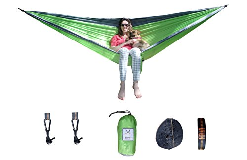 Ultra Lightweight Double Hammock (Green) - All Inclusive Ripstop Parachute Nylon Hammock for Backpacking, Camping, Outdoors, Travel by Millennial Methods