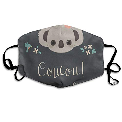 Custom Mouth Mask Anti-Dust Cute Koala And Flowers Face Mask Breathable Mask With Adjustable Ear-loop Windproof And Warm -
