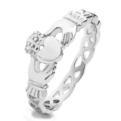 West Coast Jewelry Women's Stainless Steel Claddagh with Celtic Knot Eternity Ring - Size 5