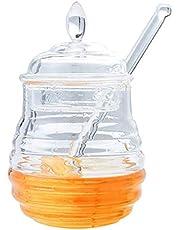 F Fityle klar honungskaka med sked, honungsbehållare honungsdispenser tom honungsflaska med lock