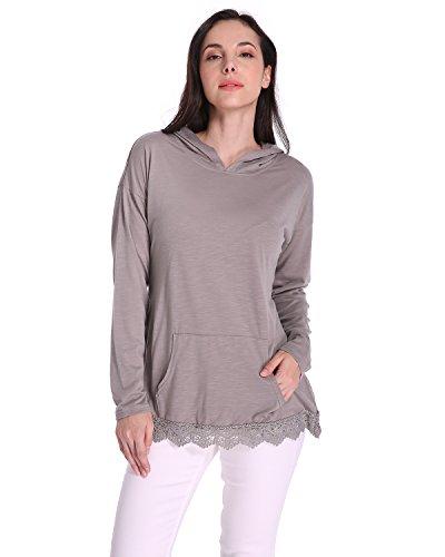 Auxo Mujeres Sudadera Manga Larga con Capucha de punto Suéter Camiseta Empalme Encaje Tops Gris