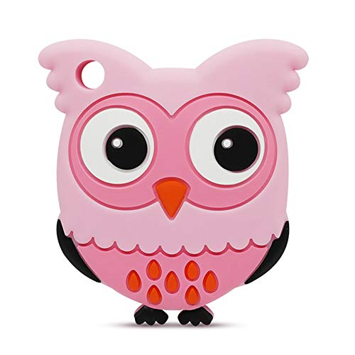 Silicone Baby Teether - Kirecoo Cute Owl Design BPA Free Silicone Bendable & Freezer Friendly Safe Teether Toy for 3 to 12 Months 1 Year Old Babies, Infants, Toddlers (Pink Owl)