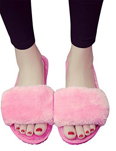 Scivola Pantofola Donna Ecopelliccia, Taglie Forti Scarpe Interne Casa Leggera Scarpa Piatta Invernale 8 Colori Taglia 5-8,5 Rosa