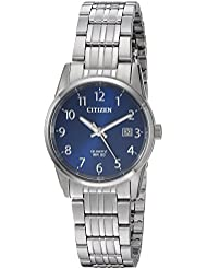 Citizen Womens Quartz Stainless Steel Casual Watch, Color:Silver-Toned (Model: EU6000-57L)