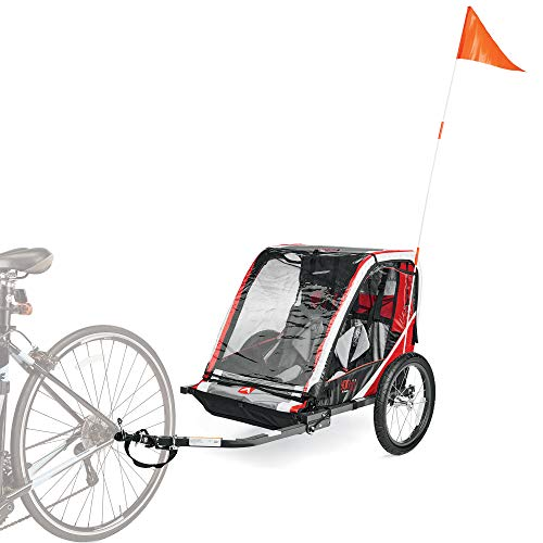Allen Sports Deluxe Steel 2-Child Bicycle Trailer, Red