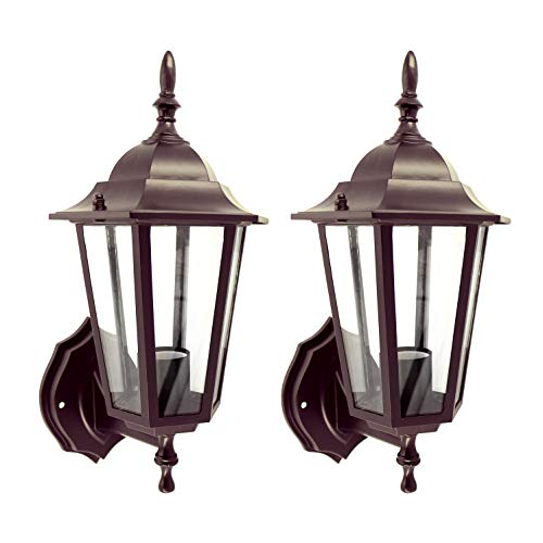 IN HOME (2 Pack) One-Light Outdoor Wall Up Lantern Fixture, Bronze Finish Cast Aluminum Housing with Clear Glass Shade, Waterproof Exterior Wall Lamp Light for Front Porch, Yard, Garage, ETL Listed