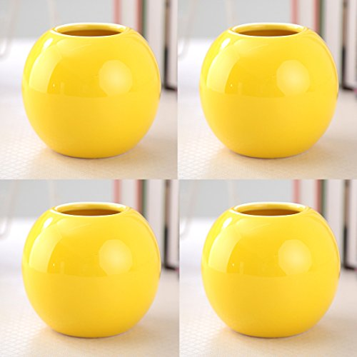 Set of 4 Vases Ceramic Plants Succulent Planter Pots Mini Decorative Bud Vase Garden Home Accent Gloss Colored Various 7 Colors (Set of 4 Yellow) from Guo's