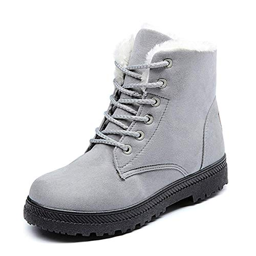 Flat Combat Boots Vuticly Suede Round Toe Snow Winter lace Grey up Boots Waterproof Platform Womens Shoes xA7I5qw7B