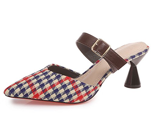 KUKI Sandalias de tacón Baotou moda mujer 1