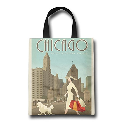 Chicago Enjoy Michigan Avenue Reusable Shopping Bag, For Farmers Markets, Grocery Shopping, Crafts, Travel, Sewing & Everyday - Michigan Shopping Chicago Avenue