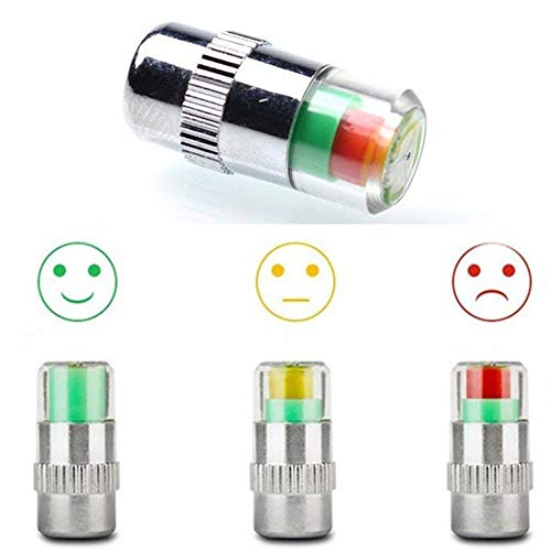 XIA-ZIHAN Car Tire Pressure Monitor Valve Stem Caps Tire Pressure Gauge Warning Cap Sensor Indicator Wheel Caps 3 Color Eye Alert 4Pcs