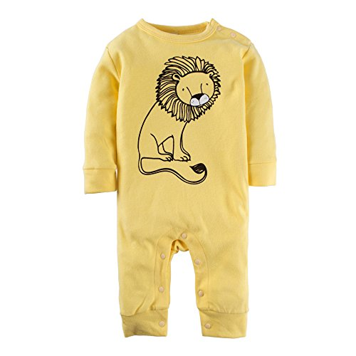 Yellow Long Sleeve Pajamas - BIG ELEPHANT Baby Boys'1 Piece Lion Print Long Sleeve Romper Pajama Yellow L40-95 12-18 Months