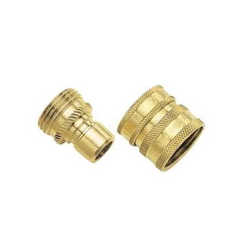 09QCGT 2-Piece Green Thumb Brass Quick Connector Set for Hose