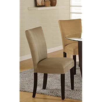 Amazon Com Set Of 2 Parson Dining Chairs Camel
