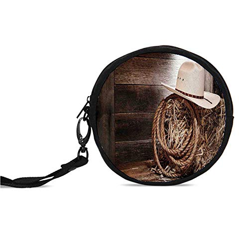 Western Durable Round Coin Purse,American West Rodeo Hat with Traditional Ranch