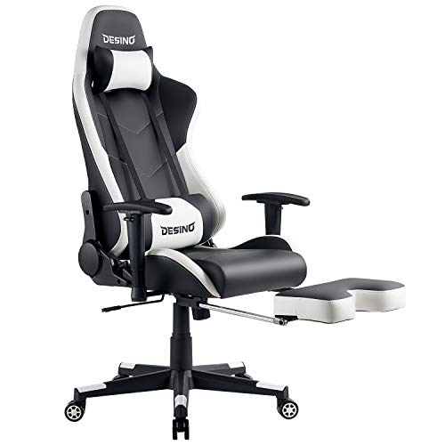 DESINO Gaming Chair Racing Style High Back Computer Chair Swivel Ergonomic Executive Office Leather Chair with Footrest (White)