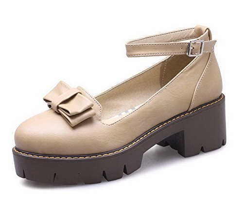 Toe Women's Closed Kitten Pumps Apricot Heels AmagooTer Odomolor Shoes Solid Buckle PU wARWIq