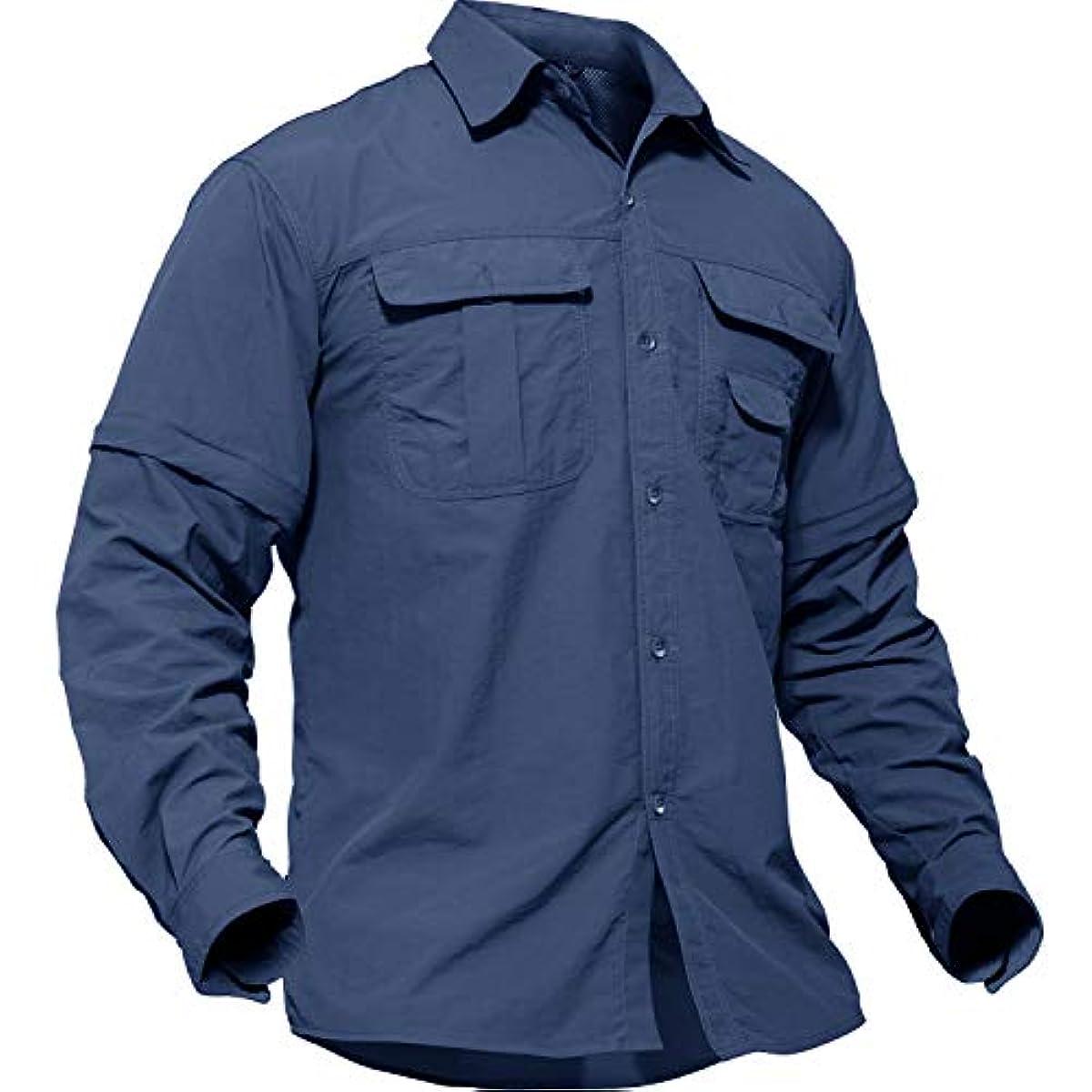 [해외] TACVASEN 아웃도어 맨즈 셔츠 긴 소매 밀리터리 택티컬 BDU T셔츠 등산속 건분리 가능 반소매