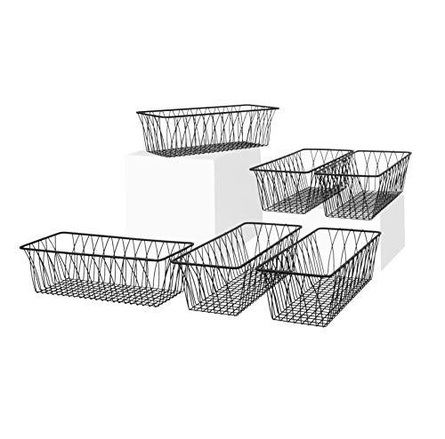 (Spectrum Diversified Twist Rectangular Pet, Toy, Office, Dorm Storage Bin Organizer, Wire Basket, Small, Pack of 6, Black )
