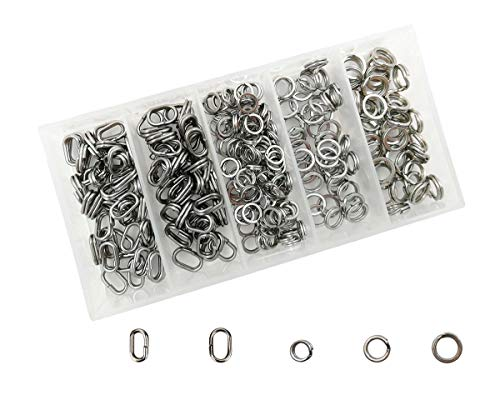 Drchoer 250Pcs Fishing Split Rings Stainless Steel Fishing Tackle Ring Chain High Strength Heavy Fishing Lures Connector Double Flat Oval Split Rings (Flat Chain Ring)