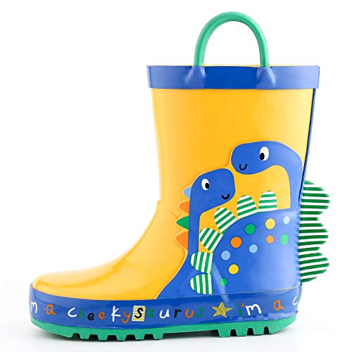 KomForme 3D Animal Kids Boy Rain Boots Yellow Dinosaur,6 M US Toddler ()